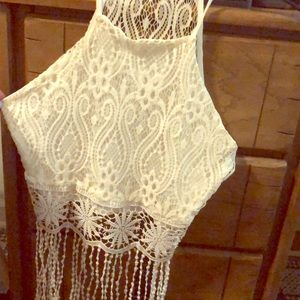 White lace croptop with tassels